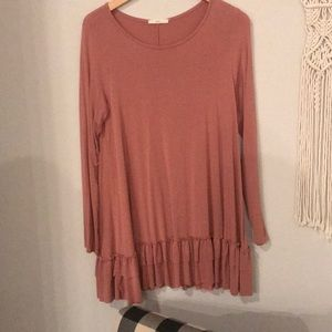 Mauve long sleeved top with ruffled hem